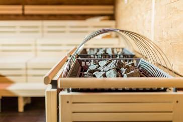 Detailaufnahme Ofen in der Sauna